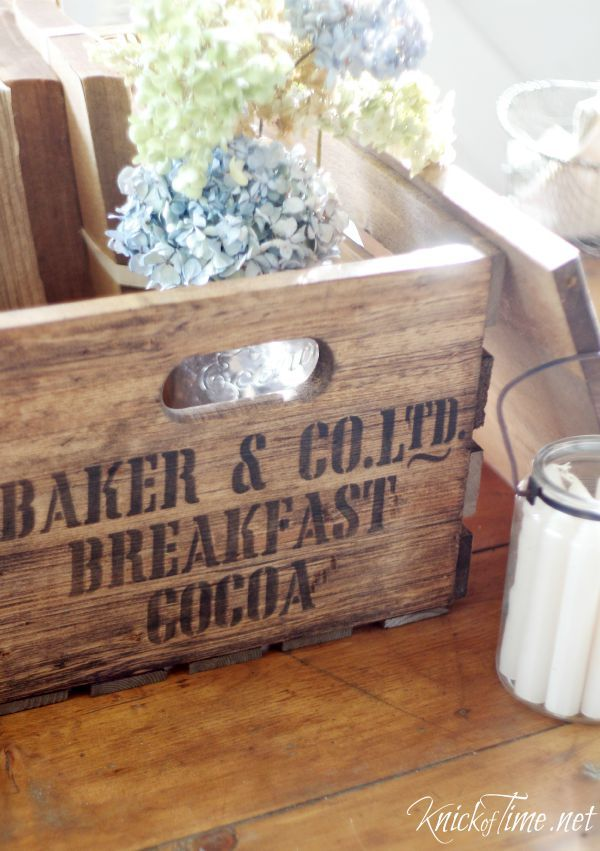 Turn new wood into an antique style shipping crate! Tutorial at Knick of Time