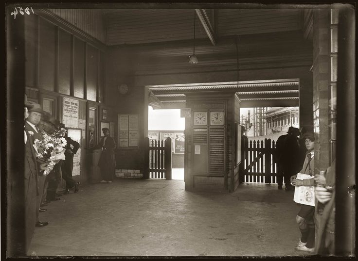 View of the entrance to Newtown Station, Sydney, taken in the aftermath of the stabbing murder of Domenico Belle at 11 a.m., 11 February 1930.
