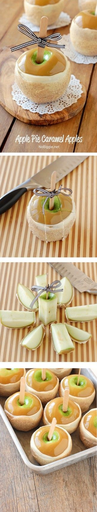 Apple Pie Caramel Apples - easier than you think to make at home...plus how to cut them! Recipe on NoBiggie.net