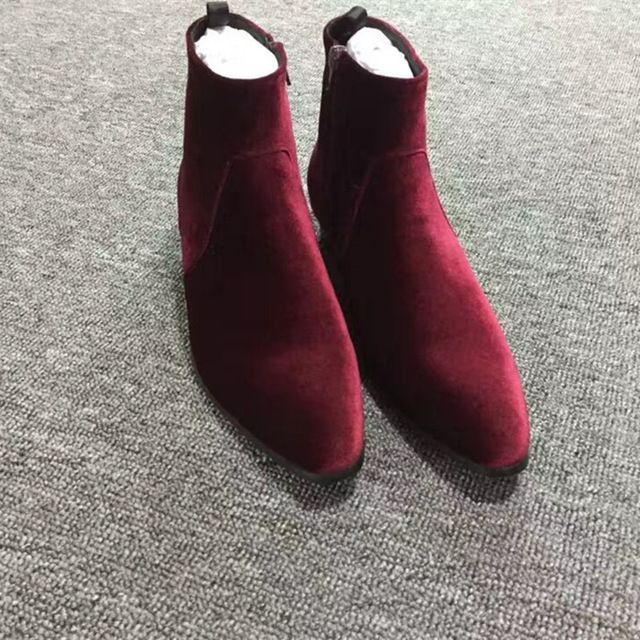 2017 Spring Autumn Luxury Brand Men Chelsea Boots Velvet Martin Shoes Men Wine Red Cowboy Boots Sapato Masculino High Quality