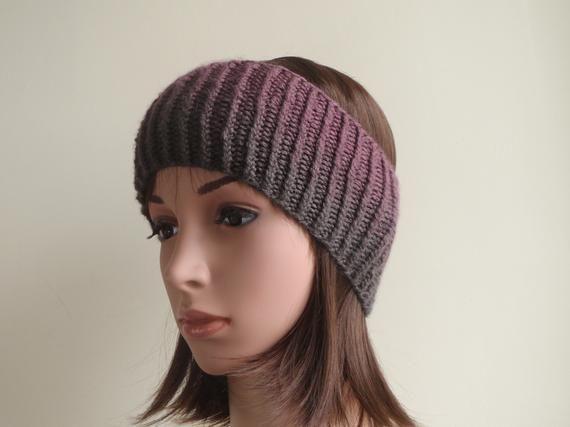 Handmade /& Knitted Winter Headband Purple Wool Ear Warmer Headband Ombre Fade Ribbed Ear Warmer Headband Chunky Knit Ear Warmer Headband