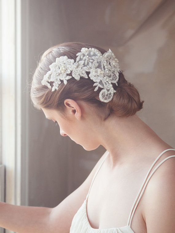 Ivory embroidered lace hair vine lace headpiece by GildedShadows