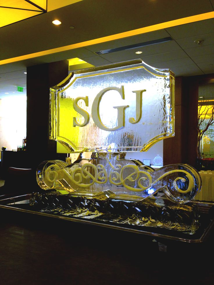 Wedding Ice Sculpture / monogram ice carving for entry setting.