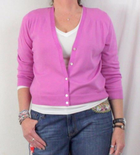 Lands Ends New Pink Cardigan Sweater L 14 16 size Pima Cotton Vneck Lightweight