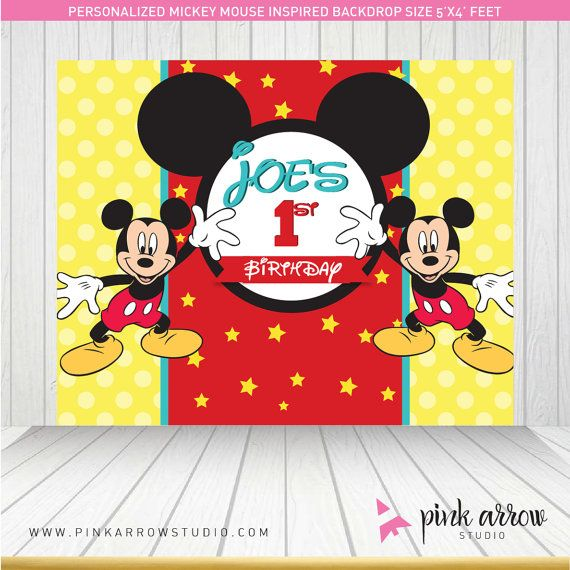 Mickey Mouse Birthday  Mickey Mouse Backdrop  by PinkArrowStudio