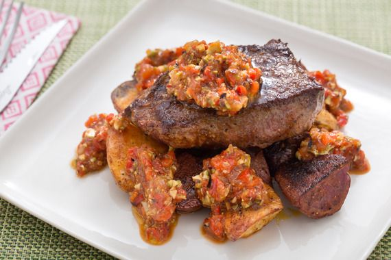 Seared Steaks with Romesco Sauce & Roasted Potatoes. Visit https://www ...