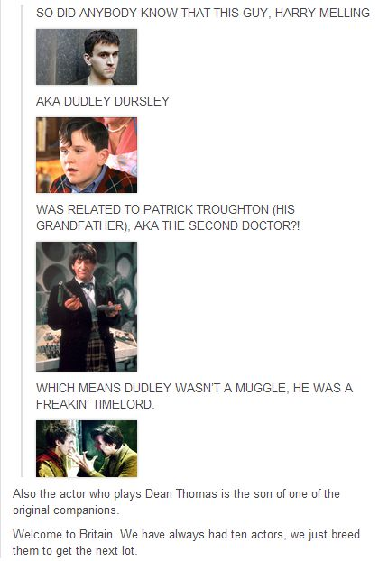 """Dudley Dursley = Time Lord."" David Tennant. You forgot about David Tennant as Barty Crouch, Jr."