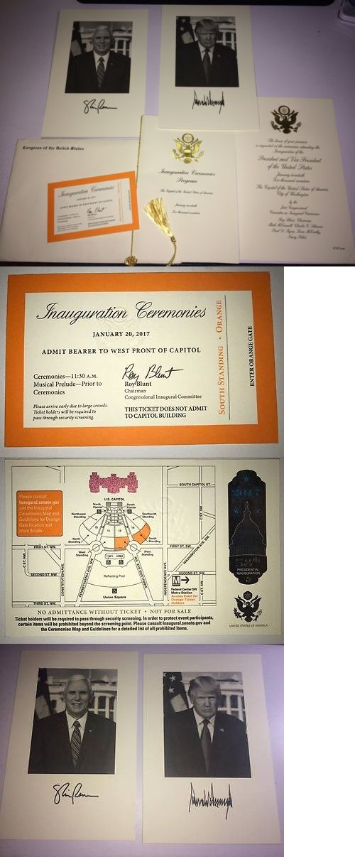 donald trump: Donald Trump And Pence Presidential Inauguration Invitation Packet Orange Ticket! BUY IT NOW ONLY: $119.99