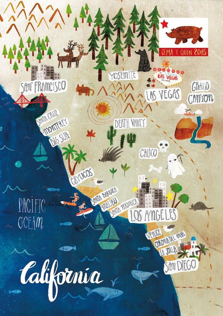 Illustrated map of California on Behance. Call Gwin's to go! 314-822-1957 or 618-259-1940. www.Gwins.com.