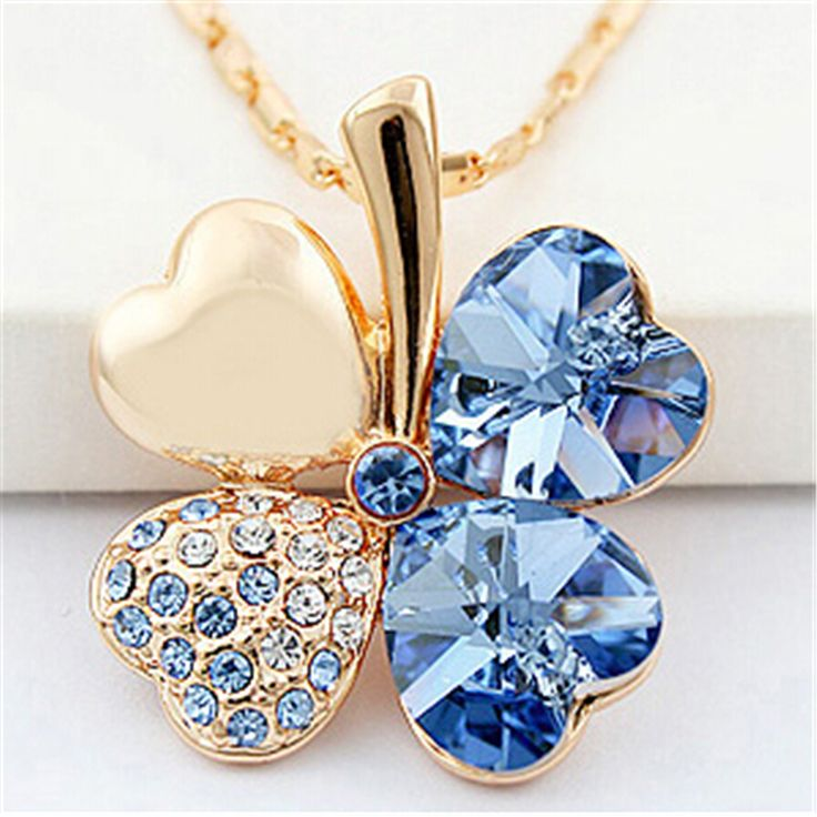 Four Leaf Clover Necklaces Pendants Heart Crystal from Swarovski Elements Gold Plated Vintage Fashion Jewelry For Women 900