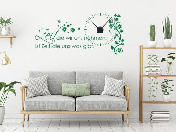 Wandtattoo Uhr Wanduhr Mit Uhrwerk Zitat Zeit Wohnzimmer Blume