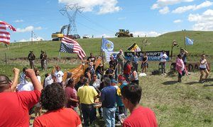 'For as long as it takes': Native American protesters defy North Dakota pipeline construction Hundreds of Native American and environmental activists descend on the site where a $3.7bn pipeline is being constructed, and 18 have been arrested so far