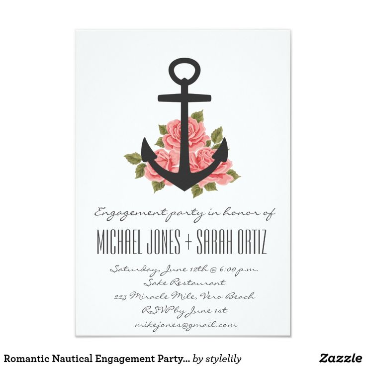 Romantic Nautical Engagement Party Invitation White floral rose nautical anchor invitations for engagement party. Customize with your party information. To further customize, use the customize it button where you can change font style, size and ink color. Visit our store to see matching save the date cards, postage stamps and more.