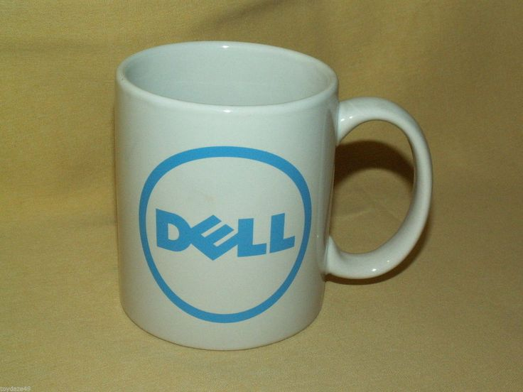 DELL COMPUTER MUG COFFEE TEA CUP COCOA WHITE BLUE CIRCLE LOGO UNMARKED USED #Dell