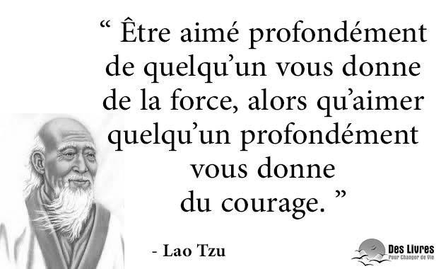 """"""" Être aimé profondément de quelqu'un vous donne de la force, alors qu'aimer quelqu'un profondément vous donne du courage."""" - Lao Tzu #amour #courage #force #lao_tzu : http://www.des-livres-pour-changer-de-vie.fr/"""