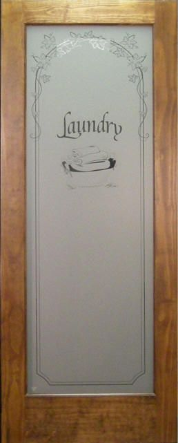 Laundry Room Door Has Quot Laundry Quot Etched In Glass Panel
