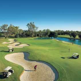 par 73.5 course of 6197m, which is in striking contrast to the spectacular surrounding Mallee plains.  It's both beautiful and challenging, with a dramatic backdrop of river gums, artfully formed lakes and some very tricky signature holes that are endlessly discussed in the clubhouse.
