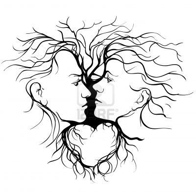 cougar pyrography | Silhouette of kissing couple shaped by tree illustration Stock Photo ...
