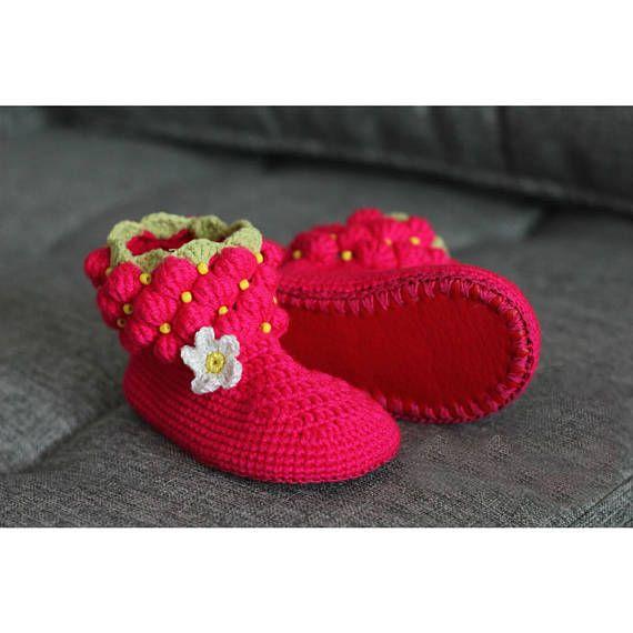 Raspberry slippers girls house shoes children crochet