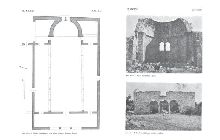 Kanlıdivane 1  Batısında atriuma dair bir kalıntı yoktur. İki sütunlu üç kemerli açıklıkla nartekse giriş sağlanan, Narteks duvarının üzerinde ikiz kemerli penceresi bulunan, kesme taş kullanılarak inşa edilmiş, ahşap çatılı, üç nefli, içten yarım daire dışarıdan düz bir formda apsisi bulunan, apsisinde at nalı formlu ikiz kemerli penceresi bulunan galerili bir bazilikadır.