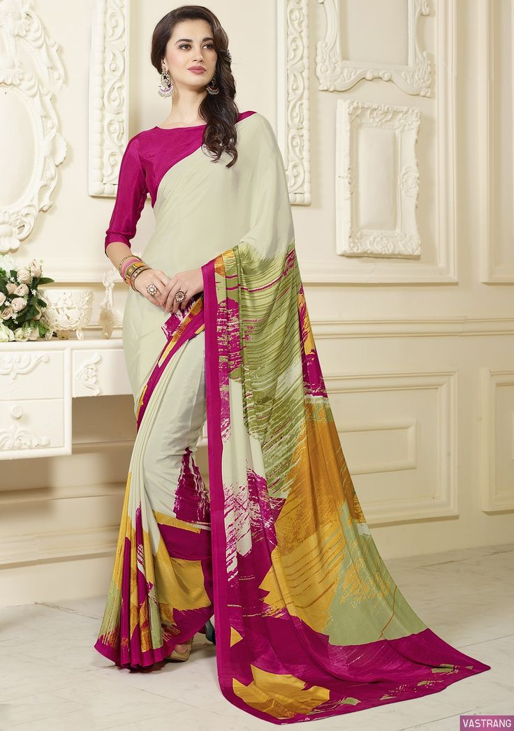 Crepe Silk Saree With Pink Blouse