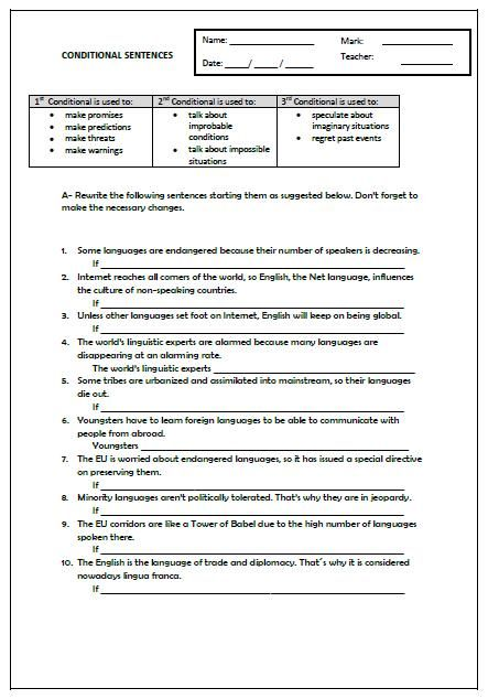 Conditional Sentence worksheet