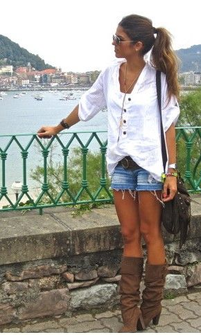 cute-casualFashion, Summer Outfit, Style, Clothing, Cute Outfits, White Shirts, Denim Shorts, Jeans Shorts, Boots