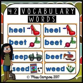 Long Vowels Long E Double E posters and worksheets, ideal for a word wall