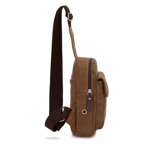 Bolsa de Crossbody de la lona portátil de la vendimia Bolso de la bolsa de hombro del bolso de hombro casual sólido para el hombre