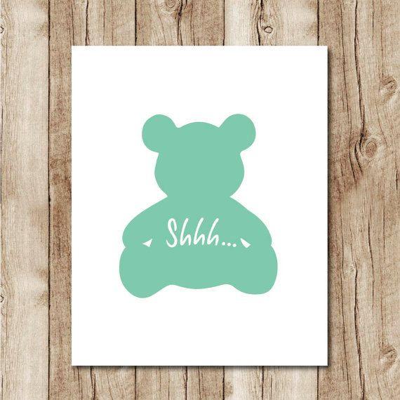 shhh sign mint nursery printable minimalist nursery digital gender neutral nursery wall art nursery instant download nursery poster jpg
