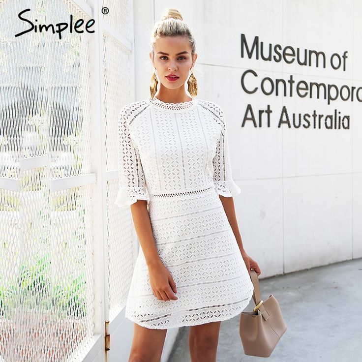 Simplee Elegant hollow out lace #dress women Half sleeve #summer style midi white dress 2018 #Spring short casual dress vestidos