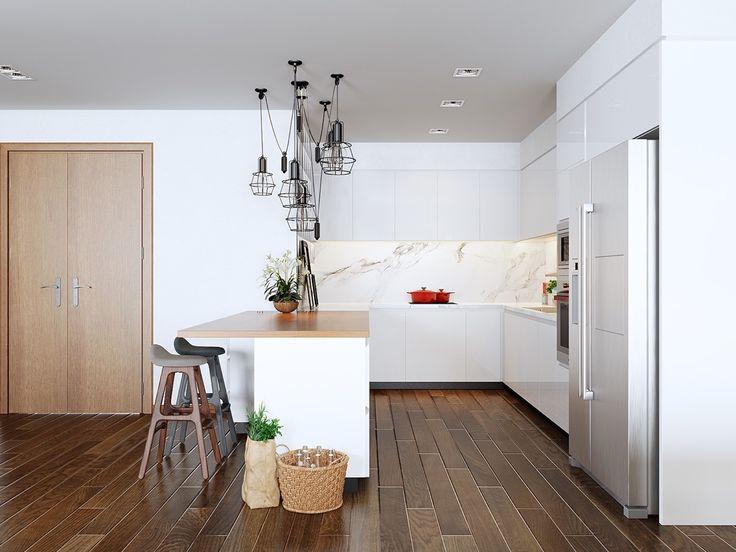 Scandinavian minimalist kitchen white and wood fire truck red kettle