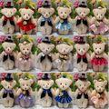 NEW 12 CM 10 pares/lote pp algodão miúdo brinquedos de pelúcia boneca mini buquês de flores do casamento do urso de urso de pelúcia pequeno urso 15 estilos para escolher