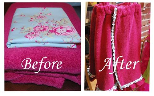 "DIY: Spa Towel Wrap (I'm thinking given with bath salts/scrubs, nailpolish etc for anyone.  And/or a voucher for a ""home spa"" day for my girl)"