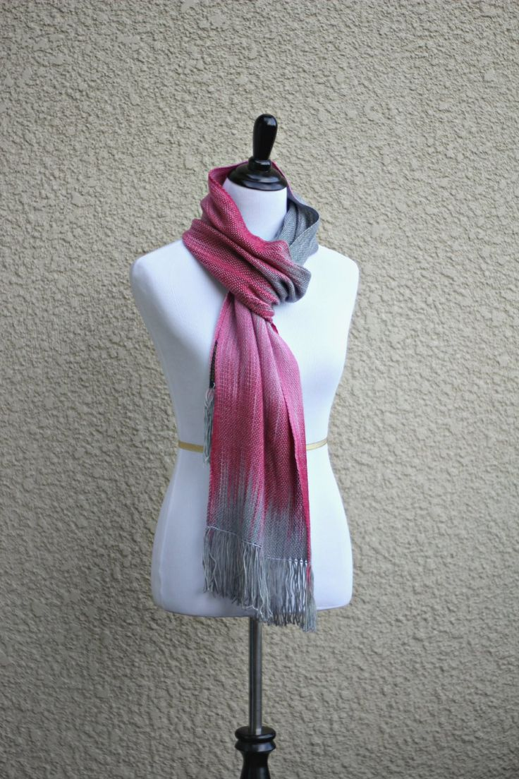 """Hand wovenscarf inpink and grey colors. Perfect #gift for her! This woven scarf is very soft and drapes nicely! Measures: L: 78"""" with 6"""" fringe on both ends W: 11"""" Care i... #kgthreads #accessories #cozy #fall #fashion #gradient #unisex #women #wrap"""