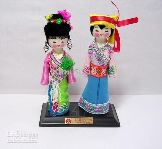 Coppia di cinesi di Etnia Bambola, Bambole Artigianali Artigianato Dono Bambola Bambola di Legno con Scatola di Imballaggio 10pair Gratuito