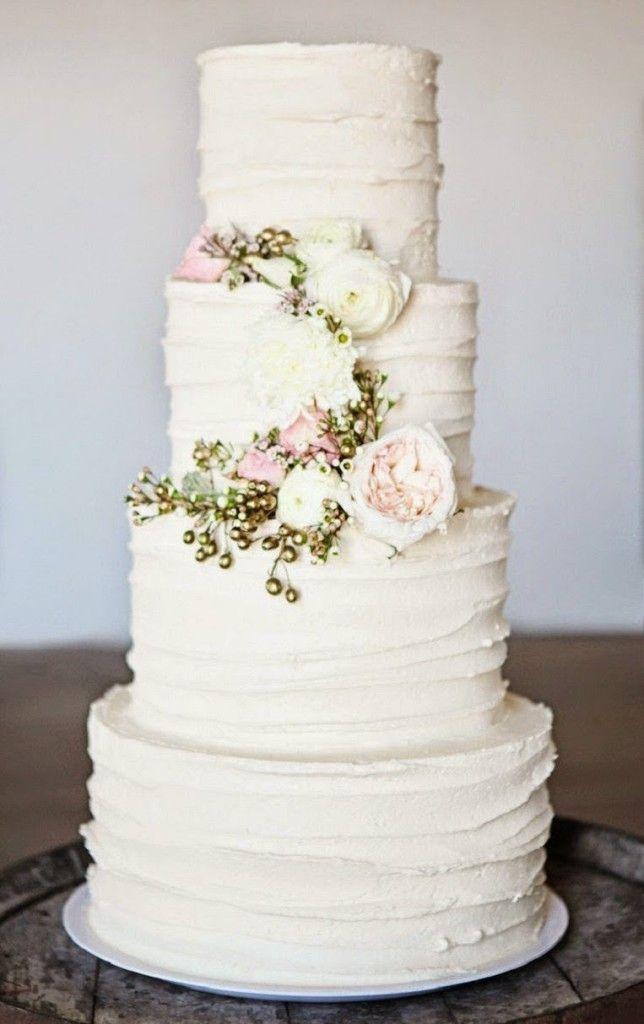 Ivory and Rose Wedding Cake