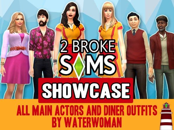 2 Broke Sims ShowCASe + Diner Outfits by Waterwoman at Akisima via Sims 4 Updates