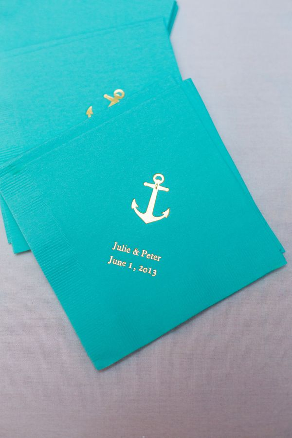 Anchor cocktail napkins! Love this for a nautical wedding {Photo by Shannon Cronin Photography via Project Wedding}