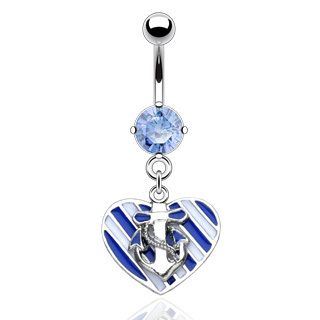 Loving Anchors lately thinking it might be a sign of my next tattoo....Heart and Anchor Belly Button Ring Piercing Dangle Nemesis Body Jewelry