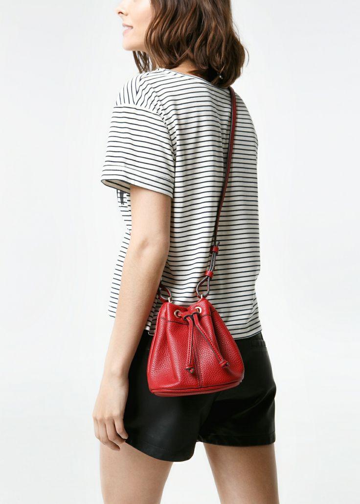 Mango red leather bucket bag shoulder strap
