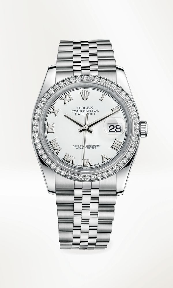 Rolex Datejust 36 in 904L steel with a bezel in 18 ct white gold set with diamonds, white dial and Jubilee bracelet.