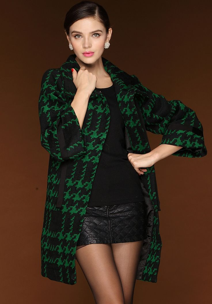 Black Green Plaid Long Sleeve Houndstooth Woolen Coat 55