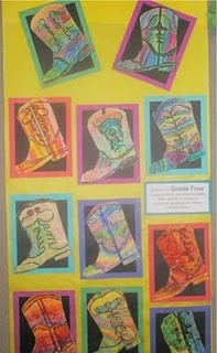 Cursive Name Cowboy Boots.. Might make little boots with their names for my bulletin board.