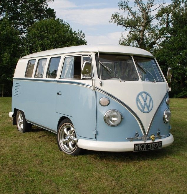 1967 VW Splitscreen Camper Van- I had one like this with a pop-top camper style in dark blue and white, and a '63 beige van that I'd street race, beat most in the short run