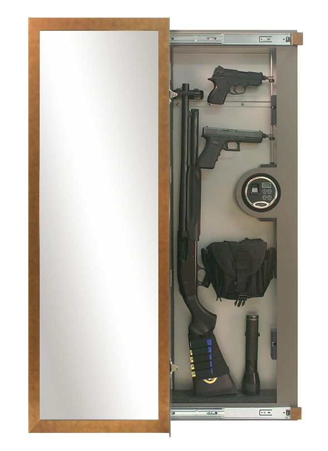 Sliding Gun Safe : Recessed in wall rifle vault appears as a framed mirror