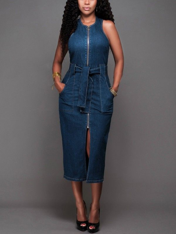 Zipper Split Belted Denim Bodycon Dress