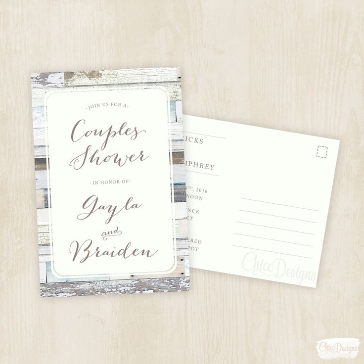 bridal shower invitations with recipe card attached%0A Wood Vintage  Couples Shower Invite  Postcard  Wedding Shower  Post Card  Invitation
