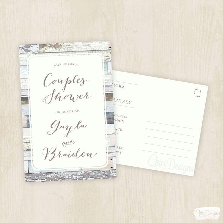 blank beach bridal shower invitations%0A Wood Vintage  Couples Shower Invite  Postcard  Wedding Shower  Post  Card Invitation