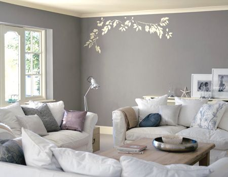 Grey & white and soft seating make this a very inviting room.